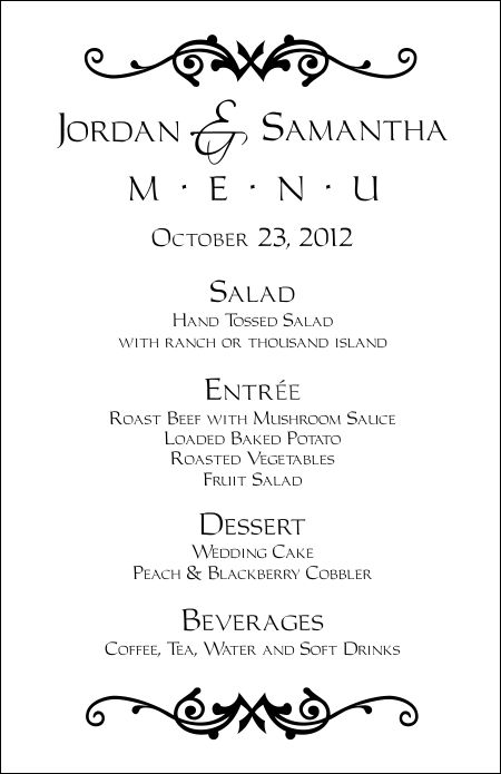 Free Wedding Menu Templates For Microsoft Word Kleobeachfixco - Free printable drink menu template