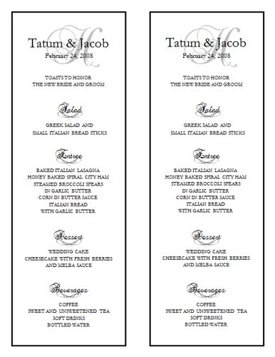 Wedding Menu Template 10 Wedding Menu Templates