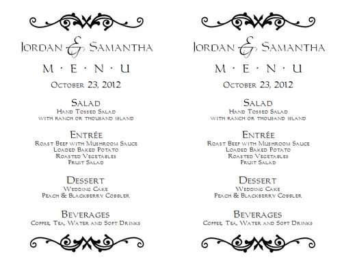 Wedding menu template 1 wedding menu templates for Menu templates for weddings