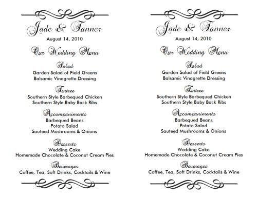 Wedding menu template 2 wedding menu templates for Menu templates for weddings