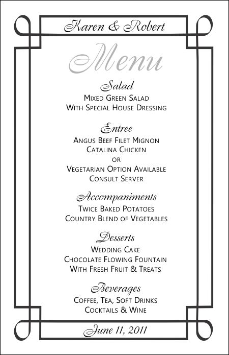 wedding menu template 3 wedding menu templates