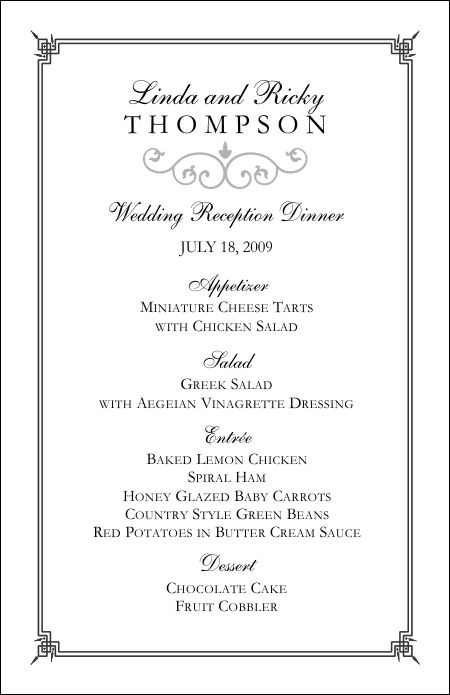 wedding menu template 4