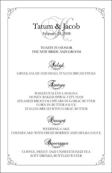 Wedding Menu Templates  Free Menu Templates Printable