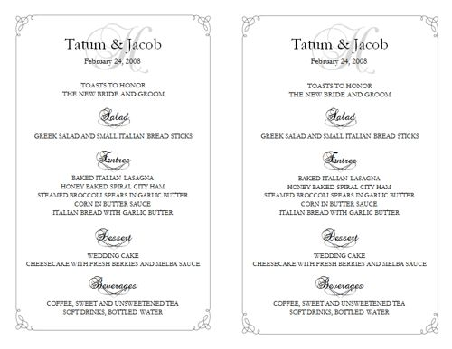 wedding menu template 5 wedding menu templates