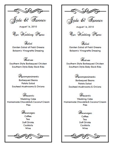 Wedding Menu Template   Wedding Menu Templates