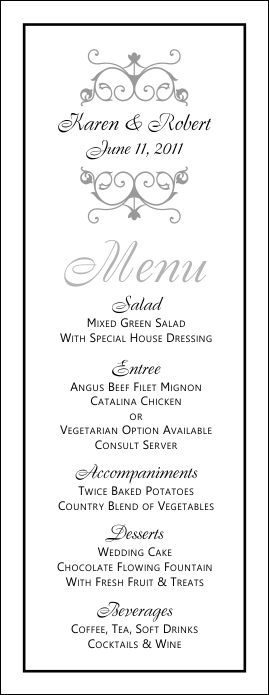 Wedding menu templates perfect and easy menus for your for Wedding menu cards templates for free