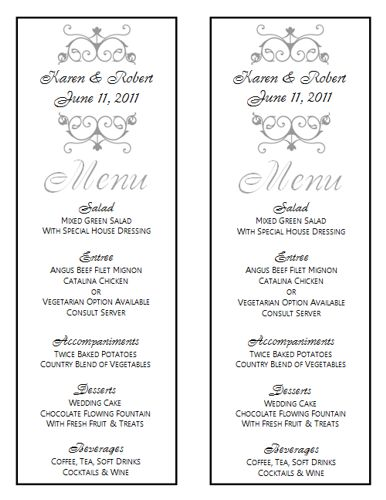 wedding menu template 8 wedding menu templates