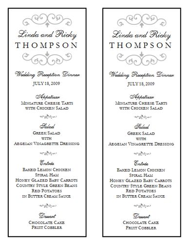 Wedding Menu Template 9 Wedding Menu Templates