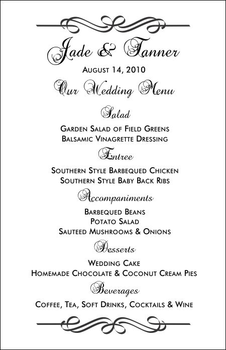 wedding menu samples templates koni polycode co